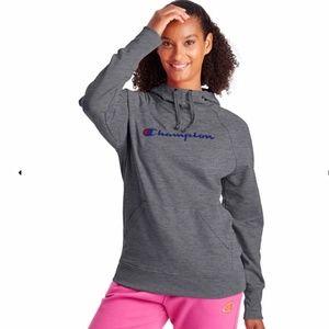 CHAMPION Hoodie Sweatshirt Dark Grey and Blue Logo